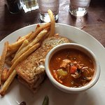 We shared two meals - Grilled Muenster Cheese and Caldo de Mariscos (seafood soup)