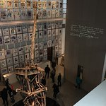 911 Exhibit at the Newseum with radio tower from one of the towers and papers announcing the att