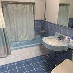 Nice bathroom, small tub.