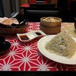 Egg fried rice and dumplings