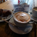 Great coffee and yummy chocolate brownie!!