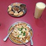 Pani Puri Gole Guppe, Mango Lassi, Samosa and Tikki Chaat - delicious!