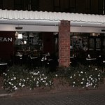 An evening view of our store-front.