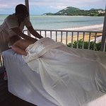 Me getting a massage on the beach!