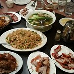 fried rice, barbecue pork, roast pork, wonton soup with bokchoy, roast duck, soy sauce chicken