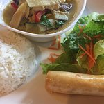 Green curry soup. Nice and spicy.