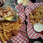 Shrimp platter and Shrimp and Grits