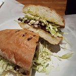 Fresh grilled Octopus sandwich at El Pescador Fish Market. Simple is best.
