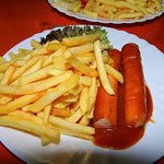 Currywurst and chips