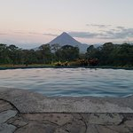 view of the pool facing the volcano