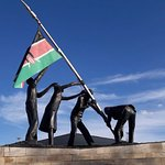Statue of soldiers raising Kenyan Flag