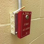 Ironic. This semi-smoked cigarette was on the Fire Alarm box in the stairwell my entire 4 day st