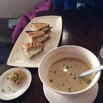 The Duck Club Sandwich and the Oyster and Mushroom Soup.