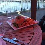 Salmon burger and sweet potato fries