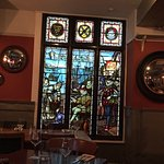 Stained glass window in the dining room.