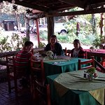 My wife,son and goddaughter in the outside area of Chubascos Restaurant.
