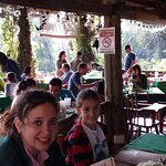 My wife and goddaughter in the outside area of Chubascos Restaurant.