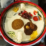 We never tried Ethiopian food before, so we were excited to try some, while in Stone Town. Found