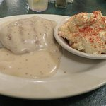 "Chicken ""Breast' with Pepper Gravy and Potato Salad"