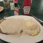 Chicken Fried Steak with Mashed Potatoes and Pepper Gravy