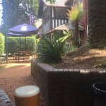 relaxing with a beer in the outside garden