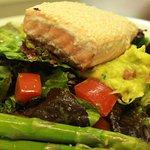 salmon salad... guac, asparagus, basil dressing