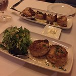 Seared Sea Scallops and Dungeness Crab Cakes