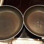 do not use these kind of frying pan ;the non stick material that has come away would leak into y