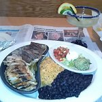 steak and chicken fajitas with all the fixings! As good as they look.