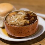French Onion soup and a warm bun, perfect in February weather.