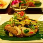 Yum Ped Yang (roasted duck with nuts, fresh fruits and herb salad)