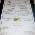 Hubcaps' burger menu page