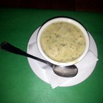 a cup of cream of broccoli soup