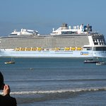 Ovation of the Seas Cruise Liner departing Napier
