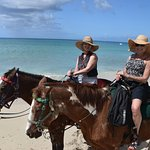 A great ride on the beach. So much fun. Hats provided by Jill