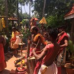 Yoga Shala on the roof, Puja for Kali, Pool, and Getting coconut.