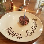 Complimentary birthday brownie