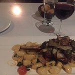 a grilled veal chop for dinner at Vittoria Tratoria on Riverside