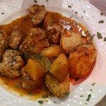 Afelia and Greek roast potatoes
