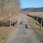 "The ""Sentiero dei pittori"" as a plain path along the Sieve river, in a beautiful winter afternoo"