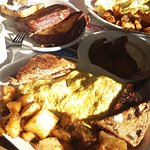 All meat omelet and french toast