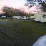 the RV park is behind the motel units away from the street
