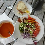 Delicious soup and salad