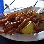 Half Salmon Portion with Sweet Potato Fries