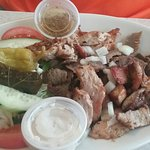 "1st Pic Hummus 2nd Pic Souvlaki Plate - Chicken, Pork and Gyro ""DELICIOUS"""