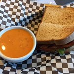BLT on toasted wheat and a cup of Tomato Bisque soup