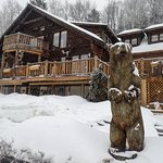 Trailside lodging in the winter, perfect for a snowmobiling vacation !