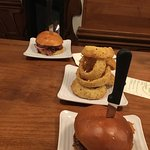 Nice burgers and onion rings large enough to share.