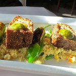 Crusted tuna on quinoa with blistered jalapeños