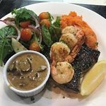 Rump Steak with Mushroom sauce and Garlic Prawns